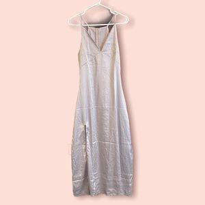Vintage silver satin maxi dress